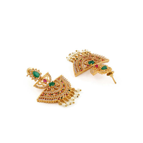 Rubans Gold-Toned & Green Classic Gold-Plated Drop Earrings