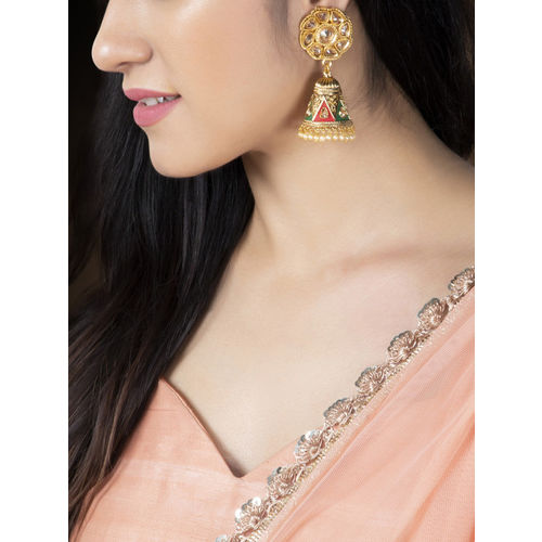 Rubans Gold-Plated & Red Dome Shaped Jhumkas