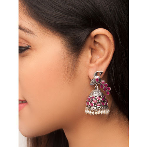Rubans Oxidised Silver-Toned & Red Handcrafted Dome-Shaped Jhumkas