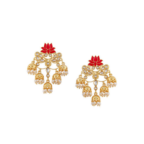 Rubans Gold-Toned & White Handcrafted Classic Jhumkas