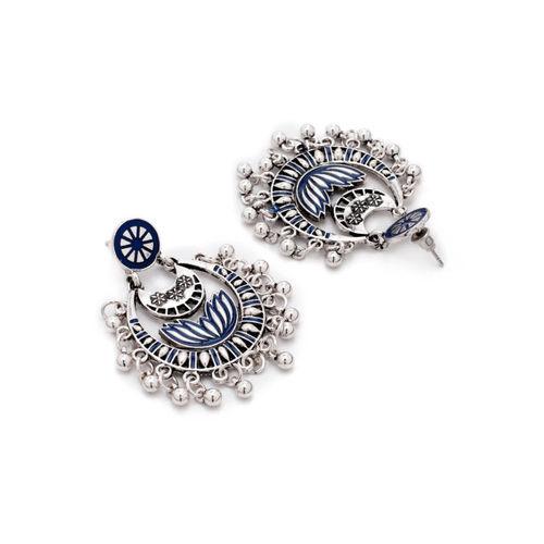 Rubans Women Silver-Toned & Blue Contemporary Chandbalis