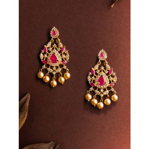 Rubans Gold-Toned & Red Gold-Plated Classic Drop Earrings