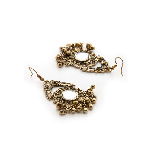 Rubans Gold-Toned & Silver-Toned Handcrafted Classic Drop Earrings
