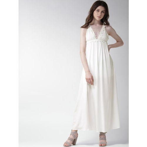 FOREVER 21 Women Off-White Solid Maxi Dress