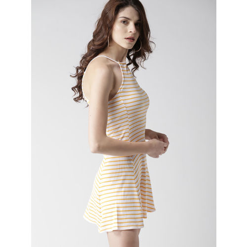 FOREVER 21 Women White & Yellow Striped A-Line Dress