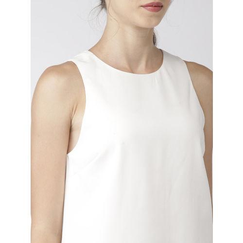 FOREVER 21 Women White Solid Satin Sheath Dress