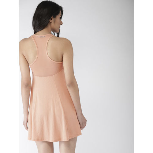 FOREVER 21 Women Peach-Coloured Solid Fit and Flare Dress