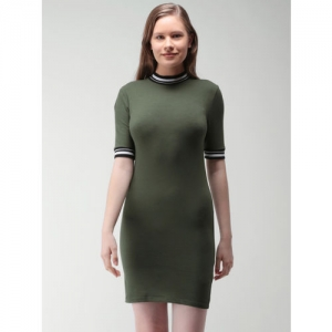 bf6b6daa72f Buy FOREVER 21 Women Olive Green Solid T-shirt Dress online ...