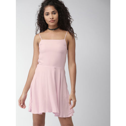 FOREVER 21 Women Pink Solid Fit & Flare Dress