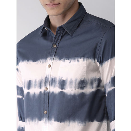 Flying Machine Men Blue & White Dyed Casual Shirt