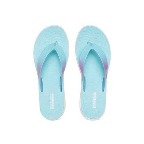 Skechers Women Turquoise Blue Solid Thong Flip-Flops