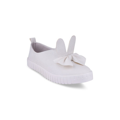 Shoetopia Women White Slip-On Sneakers