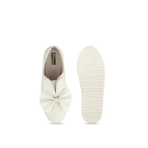 Shoetopia Women Off-White Slip-On Sneakers
