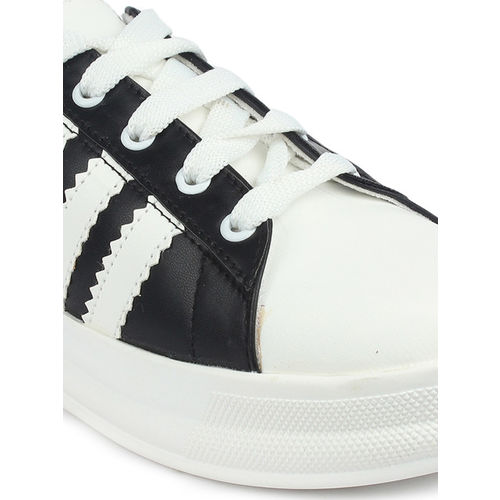 Shoetopia Women Black Striped Sneakers