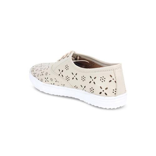 Shoetopia Women Beige Sneakers