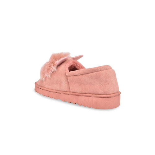 Shoetopia Women Peach-Coloured Suede Slip-On Sneakers