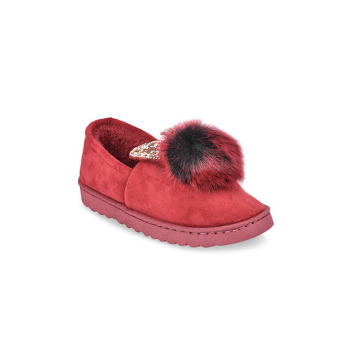 Shoetopia Women Red Suede Slip-On Sneakers