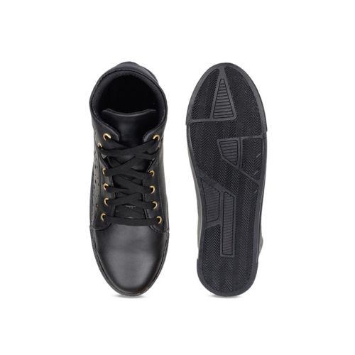 Shoetopia Women Black Solid Synthetic Mid-Top Sneakers