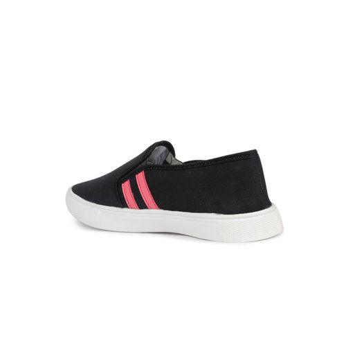 Shoetopia Women Black Striped Slip-On Sneakers