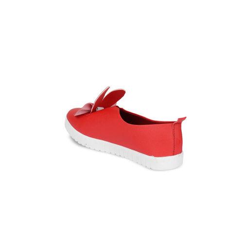 Shoetopia Women Red Slip-On Sneakers