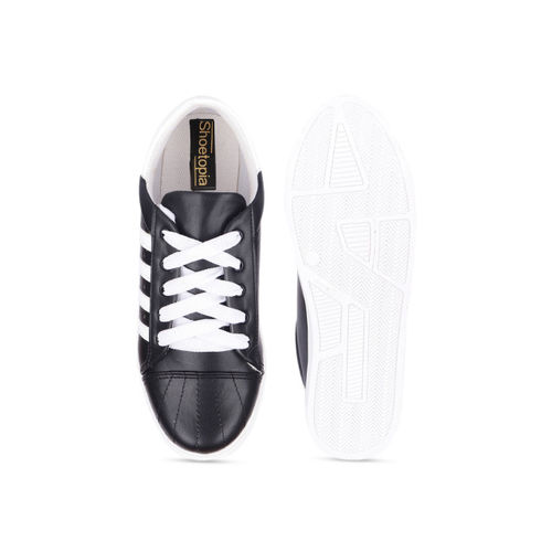 Shoetopia Women Black Striped Sneakers
