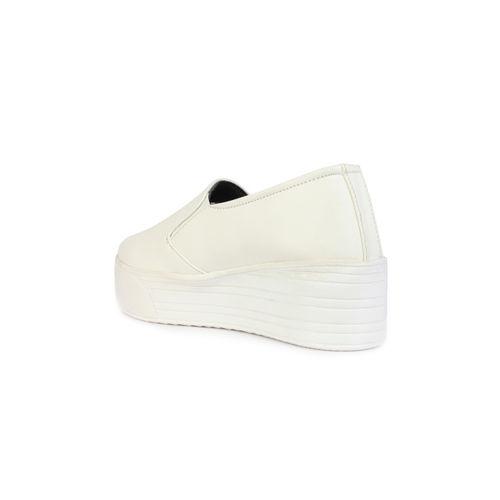 Shoetopia Women White Flatform Slip-On Sneakers