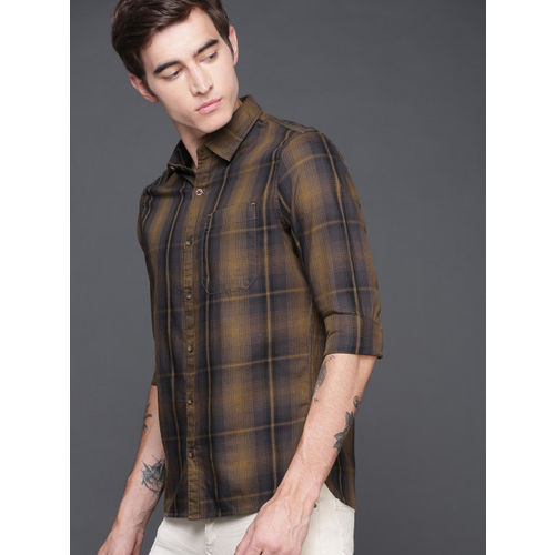 WROGN Men Mustard Yellow & Brown Slim Fit Checked Casual Shirt