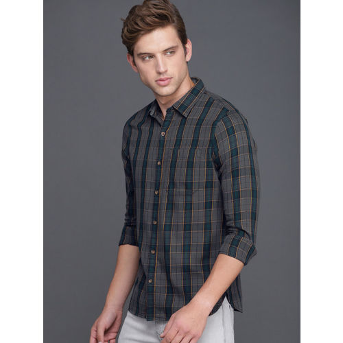WROGN Men Charcoal Grey & Navy Blue Slim Fit Checked Casual Shirt