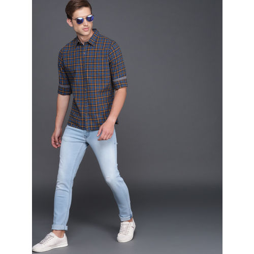 WROGN Men Blue & Mustard Yellow Slim Fit Checked Casual Shirt