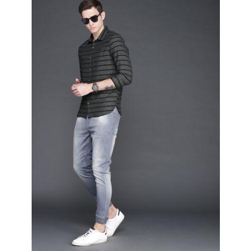 WROGN Men Black & Grey Slim Fit Striped Casual Shirt