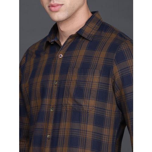 WROGN Men Mustard Yellow & Navy Blue Regular Fit Checked Casual Shirt