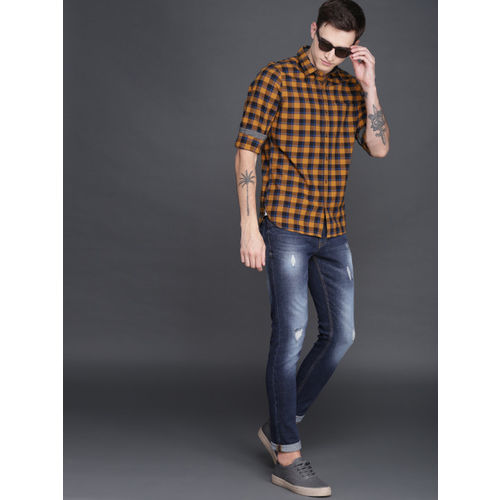 WROGN Men Mustard Yellow & Navy Slim Fit Checked Casual Shirt