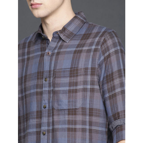 WROGN Men Blue & Charcoal Grey Slim Fit Checked Casual Shirt