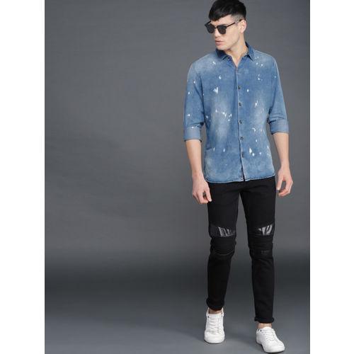 WROGN Men Blue Slim Fit Faded Denim Casual Shirt