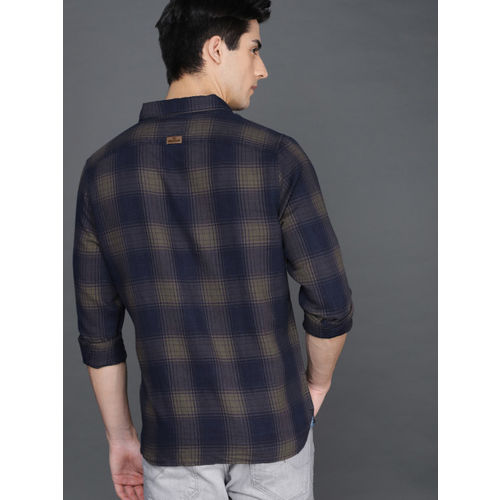 WROGN Men Brown & Navy Slim Fit Checked Casual Shirt