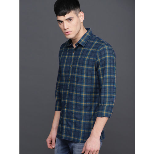 WROGN Men Blue & Khaki Slim Fit Checked Casual Shirt