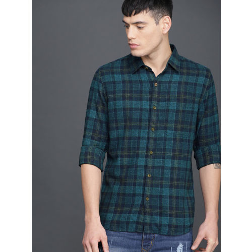 WROGN Men Blue Slim Fit Checked Casual Shirt