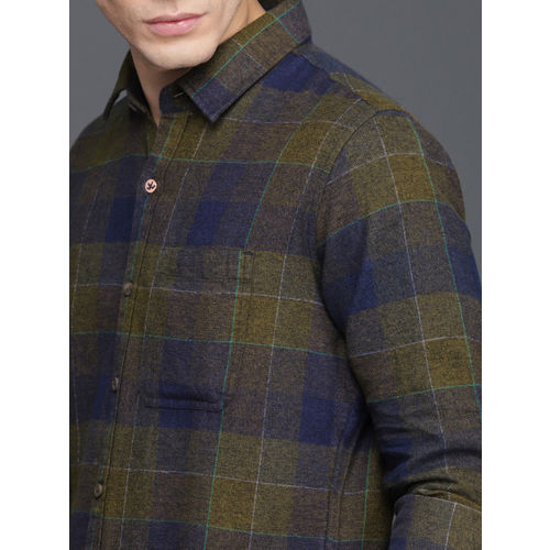 WROGN Men Olive Green & Blue Slim Fit Checked Casual Shirt