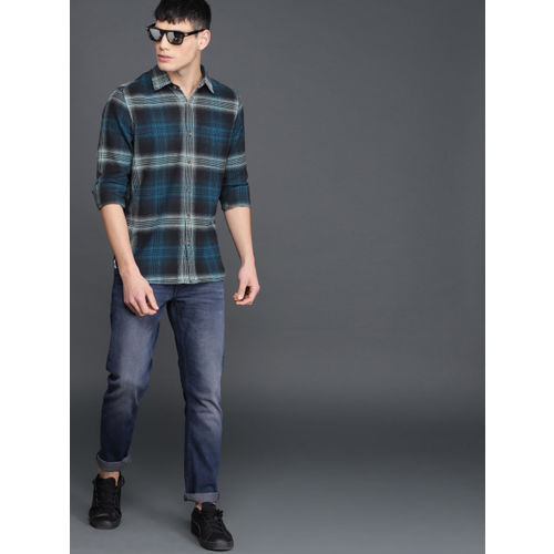 WROGN Men Navy & Green Slim Fit Checked Casual Shirt