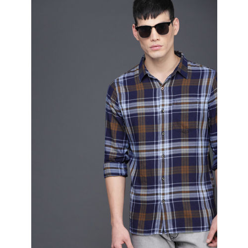 WROGN Men Navy Blue & Brown Slim Fit Checked Casual Shirt