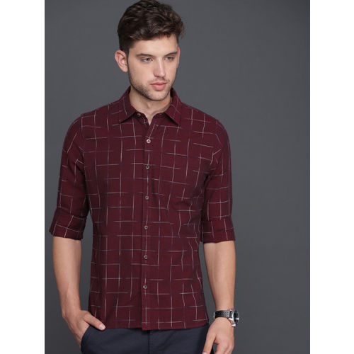 WROGN Men Maroon Slim Fit Checked Casual Shirt