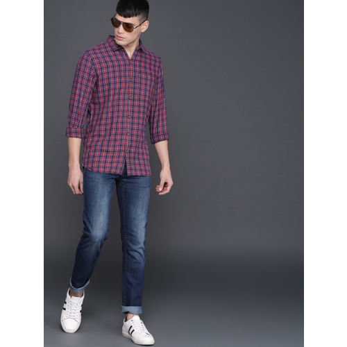 WROGN Men Red & Blue Slim Fit Checked Casual Shirt