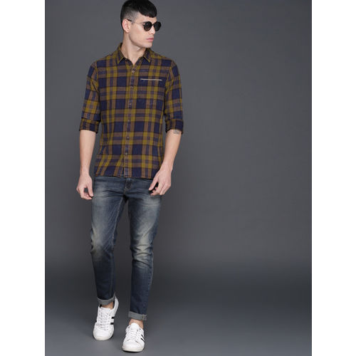 WROGN Men Mustard & Navy Blue Slim Fit Checked Casual Shirt
