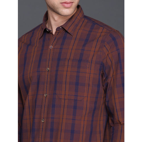 WROGN Men Rust Red & Navy Smart Regular Fit Checked Casual Shirt