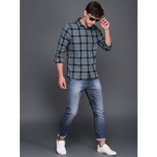 WROGN Men Blue & Black Slim Fit Checked Casual Shirt