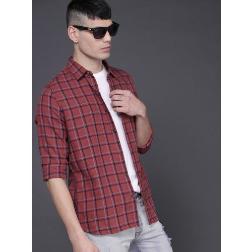 WROGN Men Rust Red & Blue Slim Fit Checked Casual Shirt