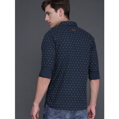 WROGN Men Navy Blue Slim Fit Printed Casual Shirt