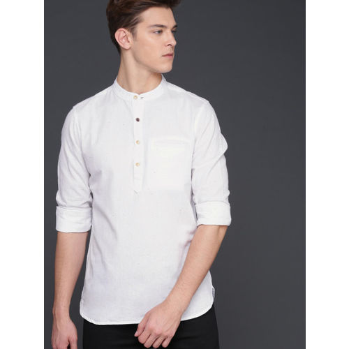 WROGN Men White Smart Fit Solid Casual Shirt
