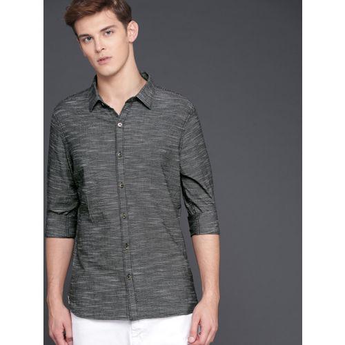 WROGN Men Charcoal Grey Slim Fit Solid Casual Shirt