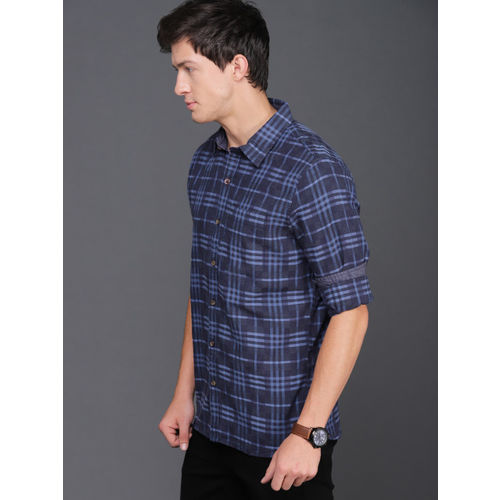 WROGN Men Navy Blue & Black Slim Fit Checked Casual Shirt